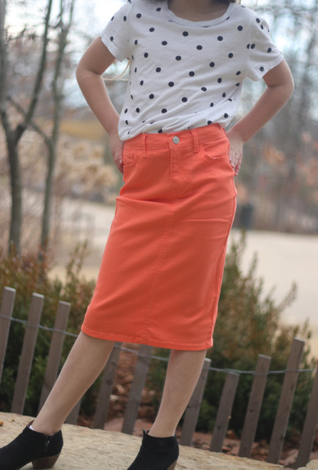 Colored Denim Skirt Coral *Girls*
