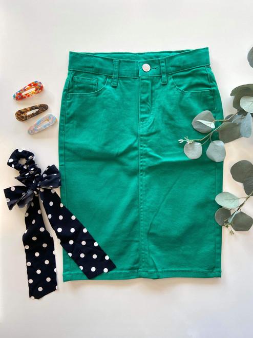 Colored Denim Skirt Spring Green *Girls*