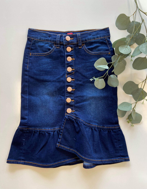 Mia Ruffle Denim Skirt Dark Wash *Girls*