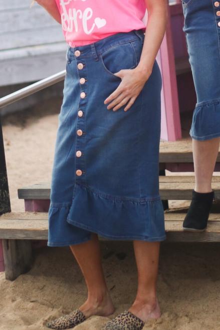 Mia Ruffle Denim Skirt *Vintage Wash*