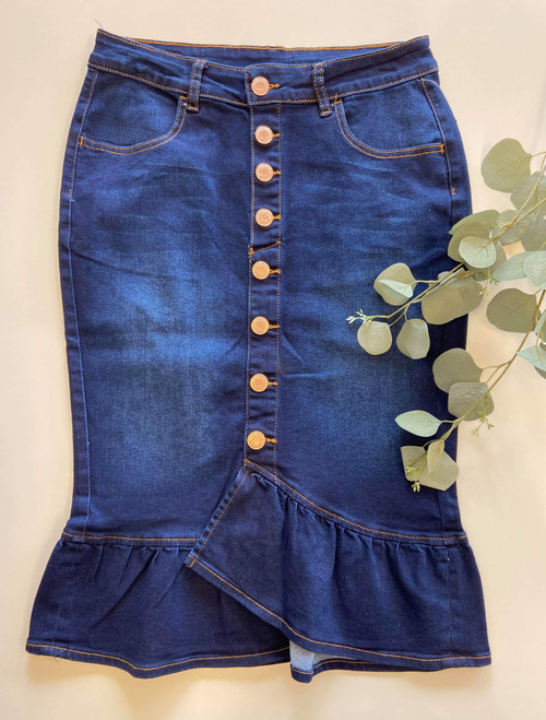 Mia Ruffle Denim Skirt *Dark Wash*