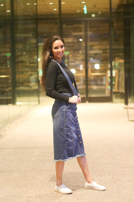 Keily Overall Denim Skirt *Dark Wash*