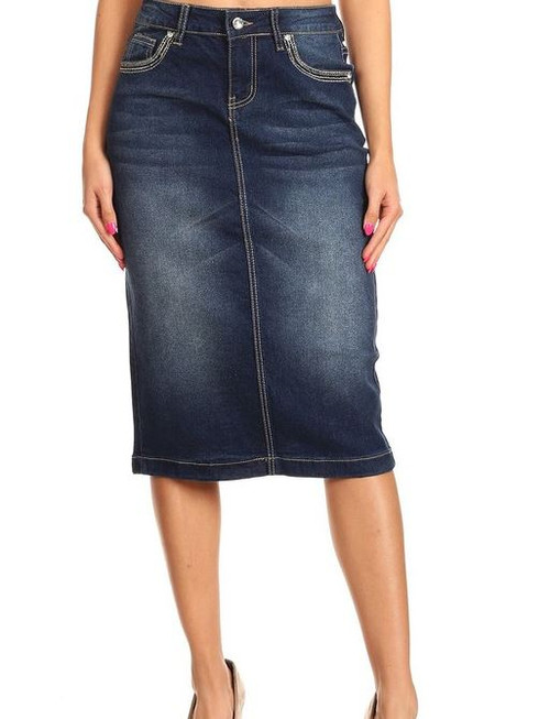 Veronica Mid Length Modest Denim Skirt