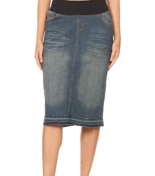 Maternity Mid Length Modest Denim Skirt
