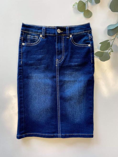 Cami Mid Length Denim Skirt Dark Wash *Girls*