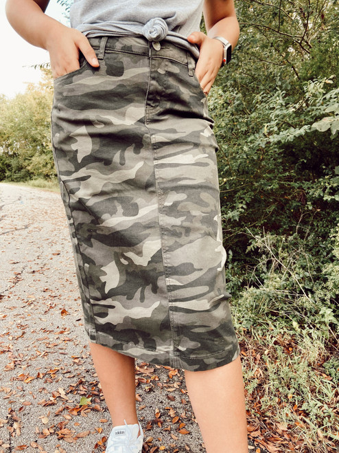 Colored Denim Skirt Camo  *Womens*