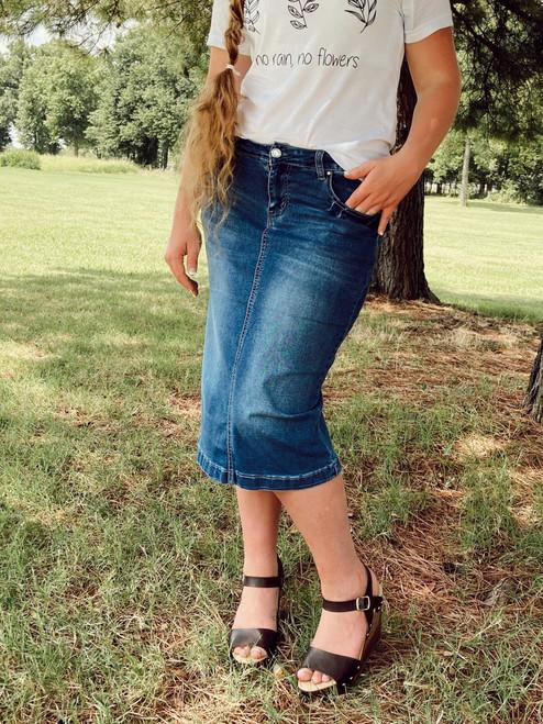 Macy Mid Length Bling Pocket Denim Skirt