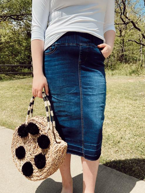 Kara Elastic Waist Denim Skirt *Dark Wash*