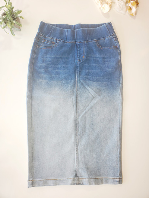 Ombre Perfection Elastic Waist Denim Skirt
