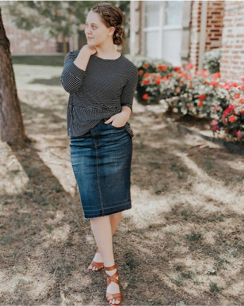 Emma Denim Skirt Dark Wash