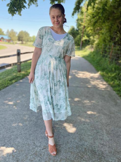 Floral Foliage Chiffon Dress