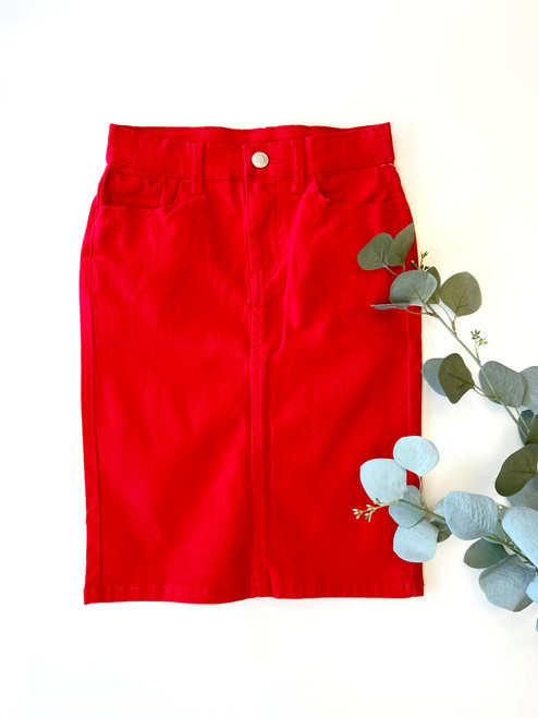 Colored Denim Skirt Red *Girls*