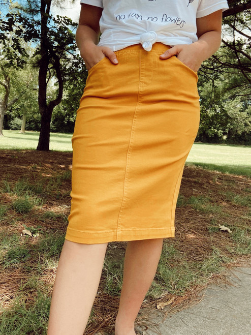 Colored Denim Elastic Waist Skirt *Mustard*