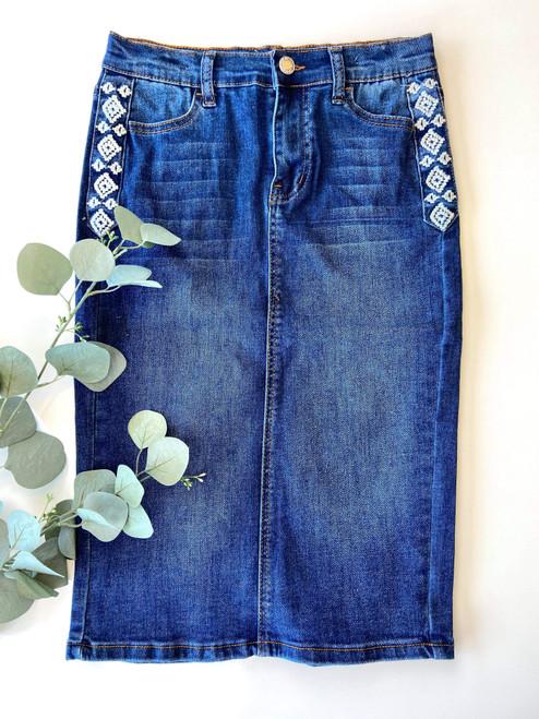 Brandy Embroidered Denim Skirt Dark Wash *Girls*