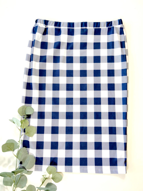 Klassy Girl Original Pencil Skirt Navy Buffalo Check Final Sale