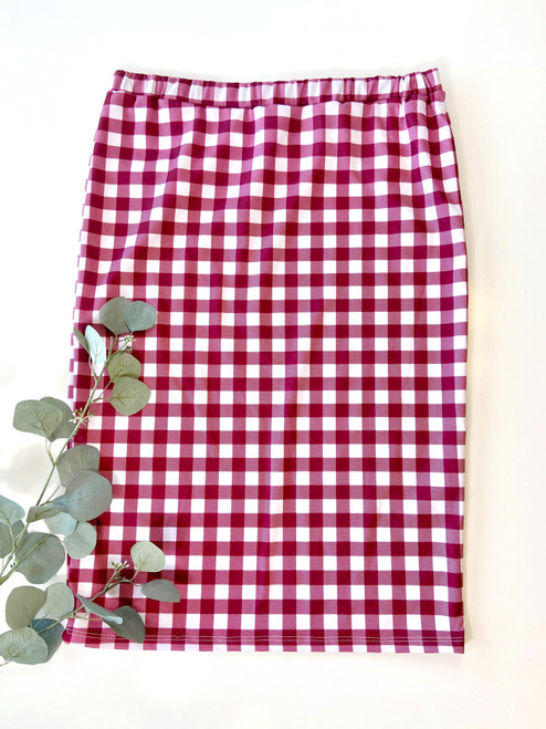 Klassy Girl Longer Length Pencil Skirt Burgundy Gingham