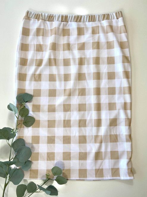 Klassy Girl Original Pencil Skirt Taupe Buffalo Check