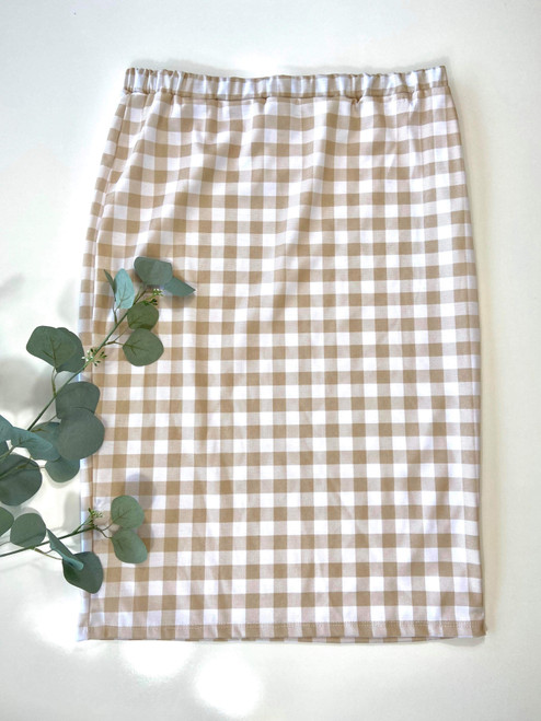 Klassy Girl Original Pencil Skirt Taupe Gingham Final Sale