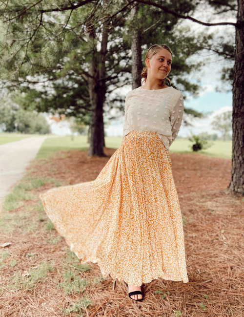 Cheetah Print Pleated Maxi Skirt *Mustard*
