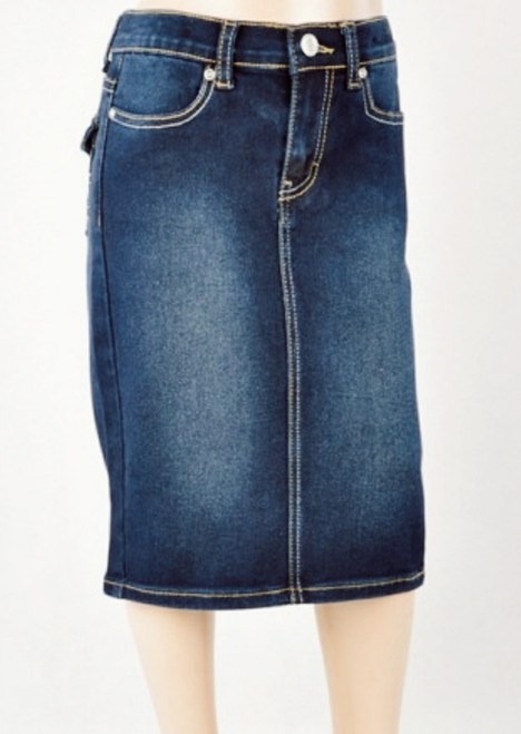 Sidney Mid Length Denim Skirt Dark Wash *Girls*