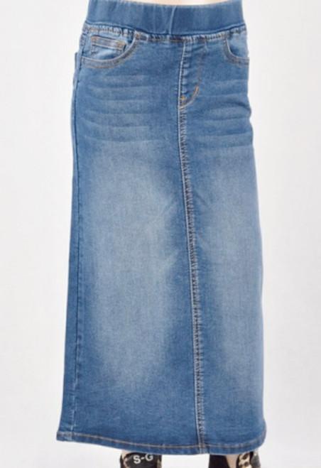 Morgan Indigo Wash Long Denim Skirt *Girls*