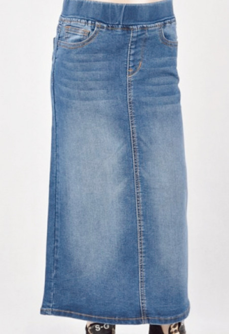 Morgan Vintage Wash Long Denim Skirt *Girls*