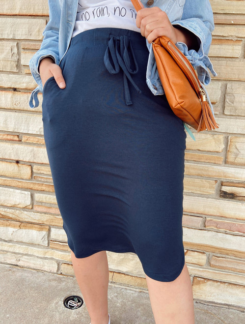 Amelia Drawstring Skirt *Navy*