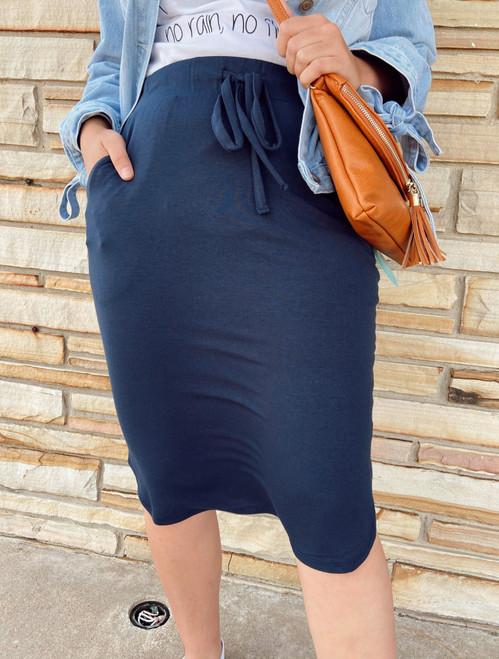 Amelia Drawstring Skirt *Navy*