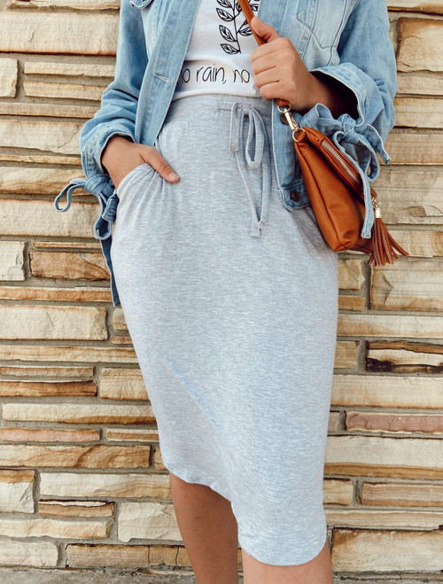 Amelia Drawstring Skirt *Heather Grey*