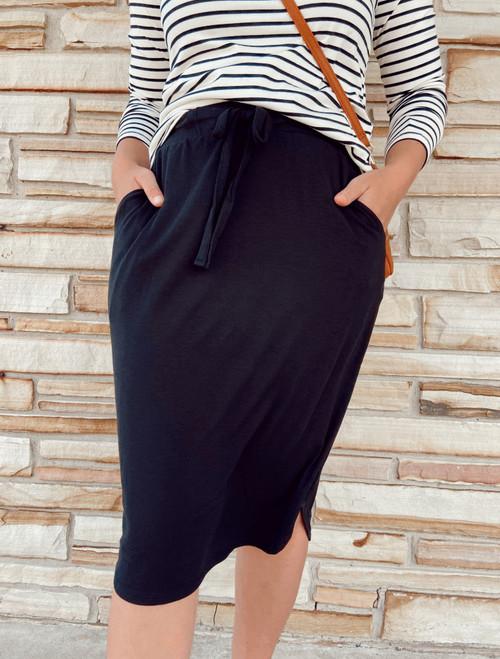 Amelia Drawstring Skirt *Black*