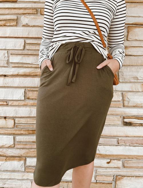Amelia Drawstring Skirt *Olive*