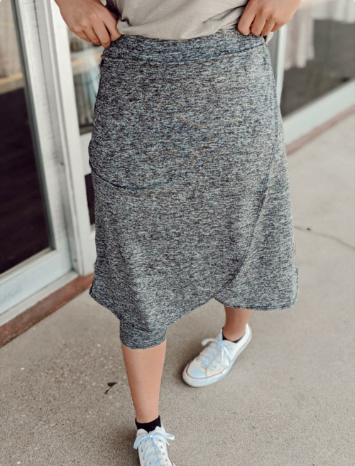Wrapped Athletic Skirt * Heathered Grey*