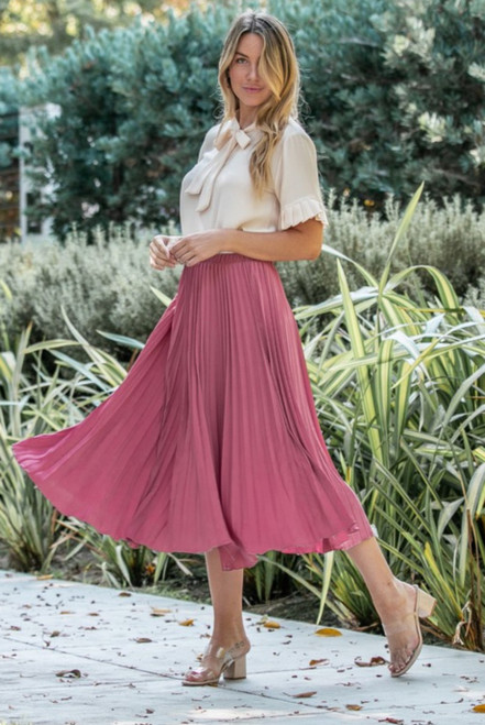 Annabelle Pleated Midi Skirt *Mauve*