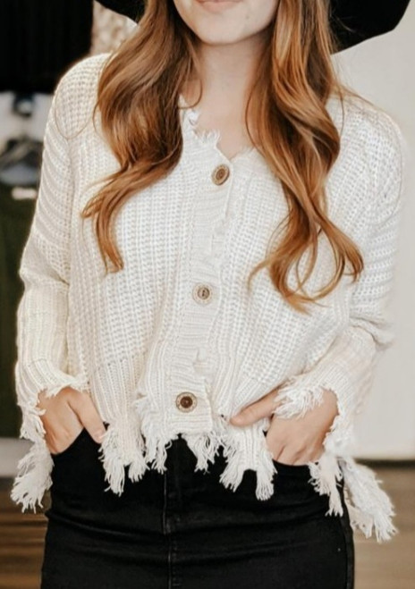 Janie Distressed Button Up Sweater Cardigan *Cream*