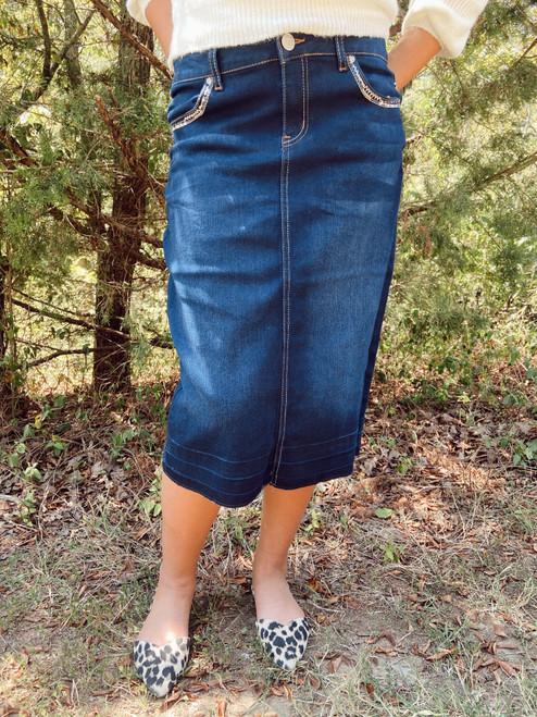 Cicily Bling Embelished Denim Skirt Dark Wash