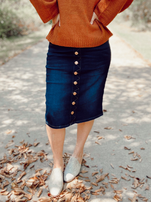 Ella Button Denim Skirt *Dark Wash*