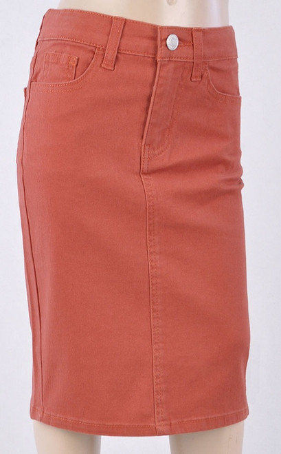 Colored Denim Skirt Terracotta *Girls*