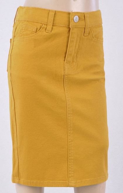 Colored Denim Skirt Mustard *Girls*