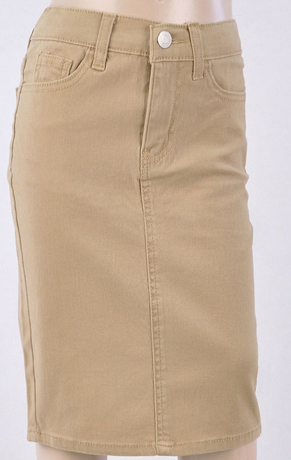 Colored Denim Skirt Khaki *Girls*