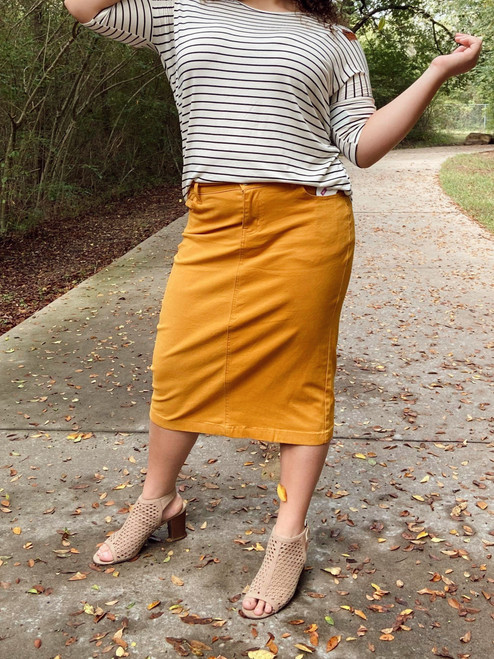 Colored Denim Skirt Mustard  *Womens*