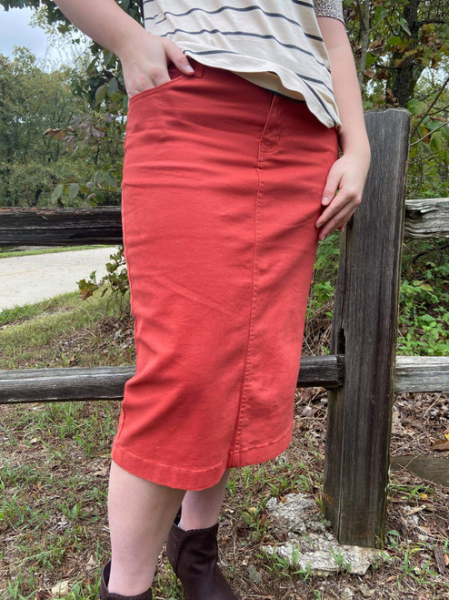 Colored Denim Skirt Terracotta *Womens*