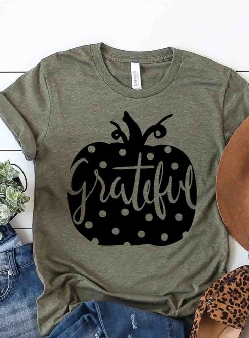 Grateful Polka Dot Pumpkin Graphic Tee