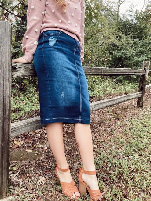 Jastyn Denim Skirt Distressed