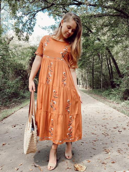 Avery Embroidered Dress *Pumpkin*