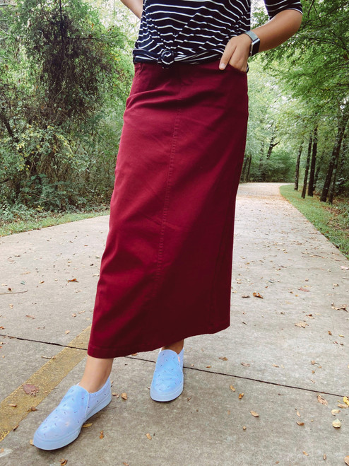 Colored Denim Maxi Length Skirt *Burgundy*