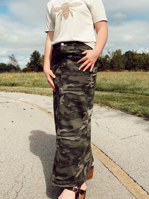 Colored Denim Maxi Length Skirt *Camo*