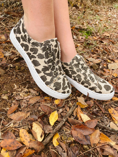 Leopard Shimmer Tennis Shoes
