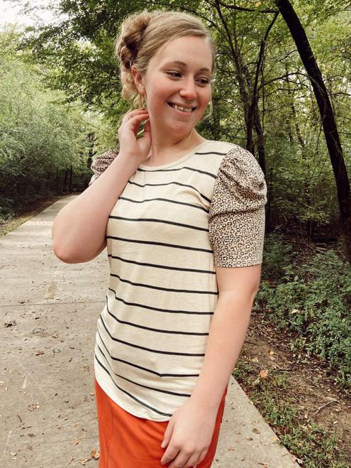 Stripes & Leopard Puff Sleeve Top