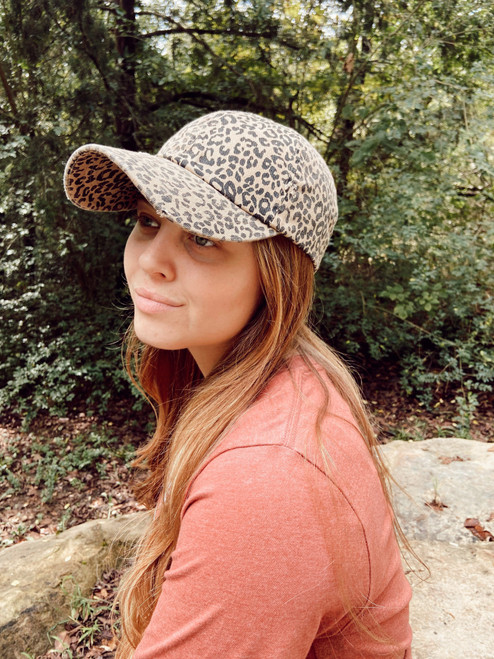 Distressed Leopard Ballcap Hat