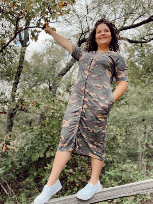 Buttoned Up Camo Dress